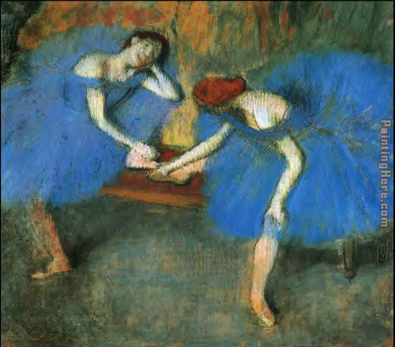 Two Dancers in Blue painting - Edgar Degas Two Dancers in Blue art painting